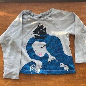 2 Tea Collection tops, swan and mermaid, size 2